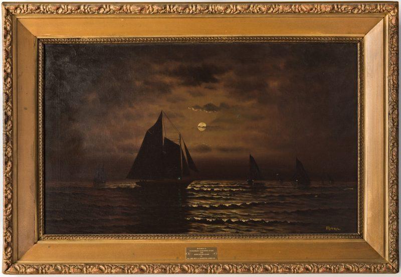 Lot 97: O/C Sailboats at Night, signed Moran