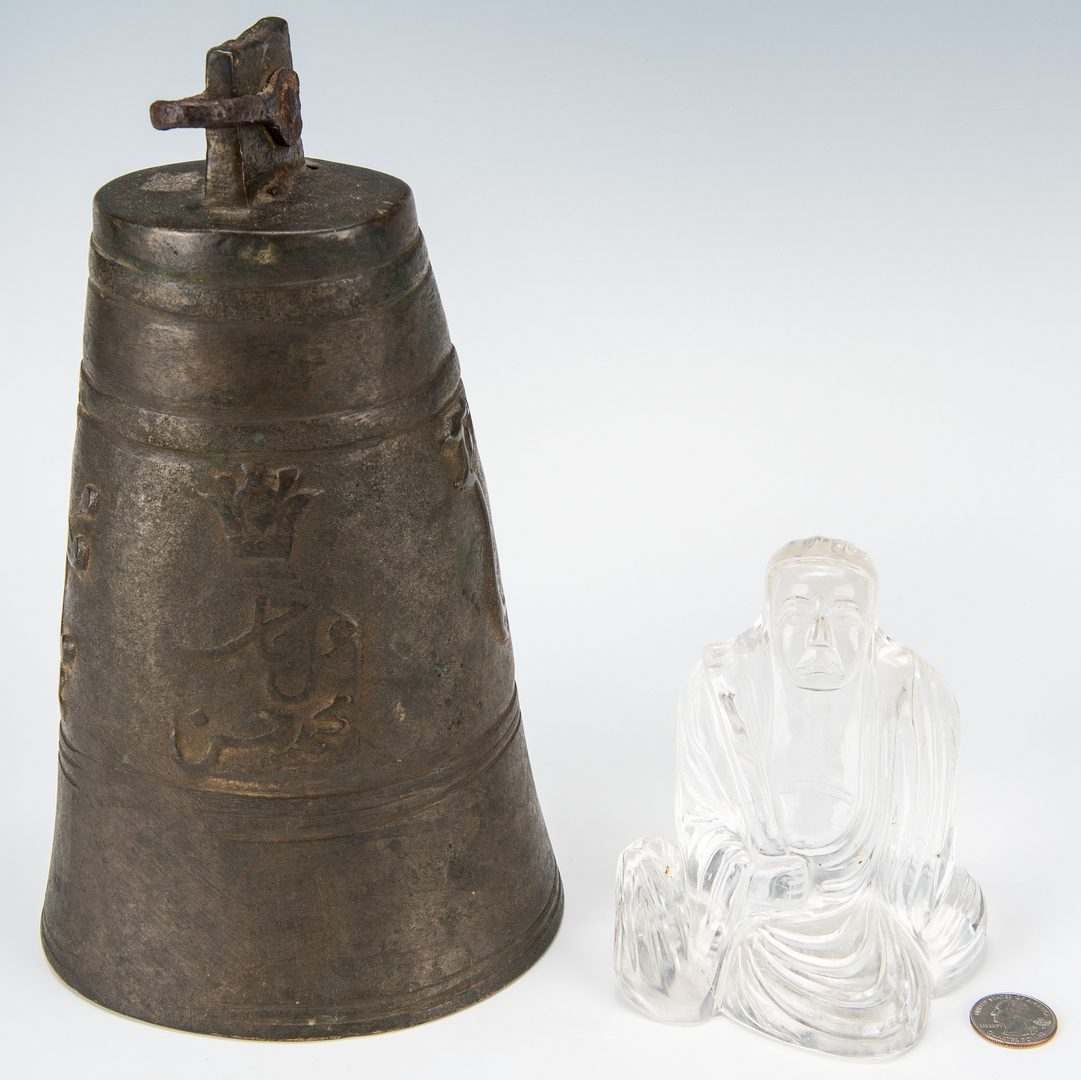 Lot 9: Asian Bronze Bell, Rock Crystal Buddha & Chinese Carved Relief Vase