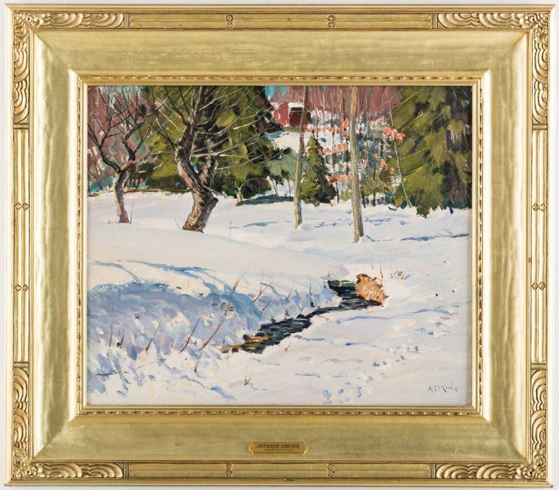 Lot 101: Antonio Cirino O/C, Winter Landscape