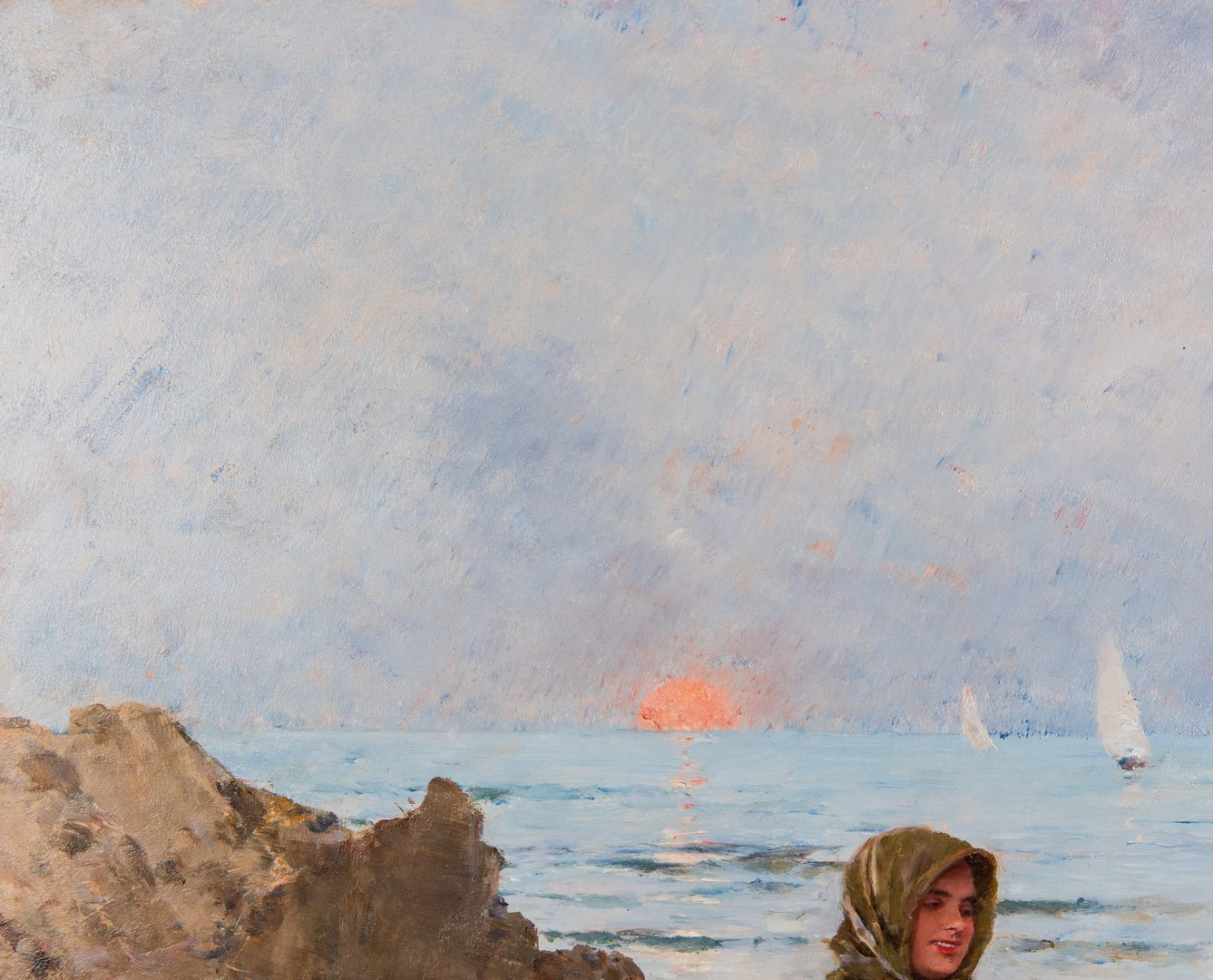 Lot 103: Francisco Miralles y Galup Oil, Beach Scene at Dusk