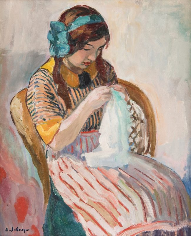 Lot 104: Henri Lebasque O/C, Girl Sewing
