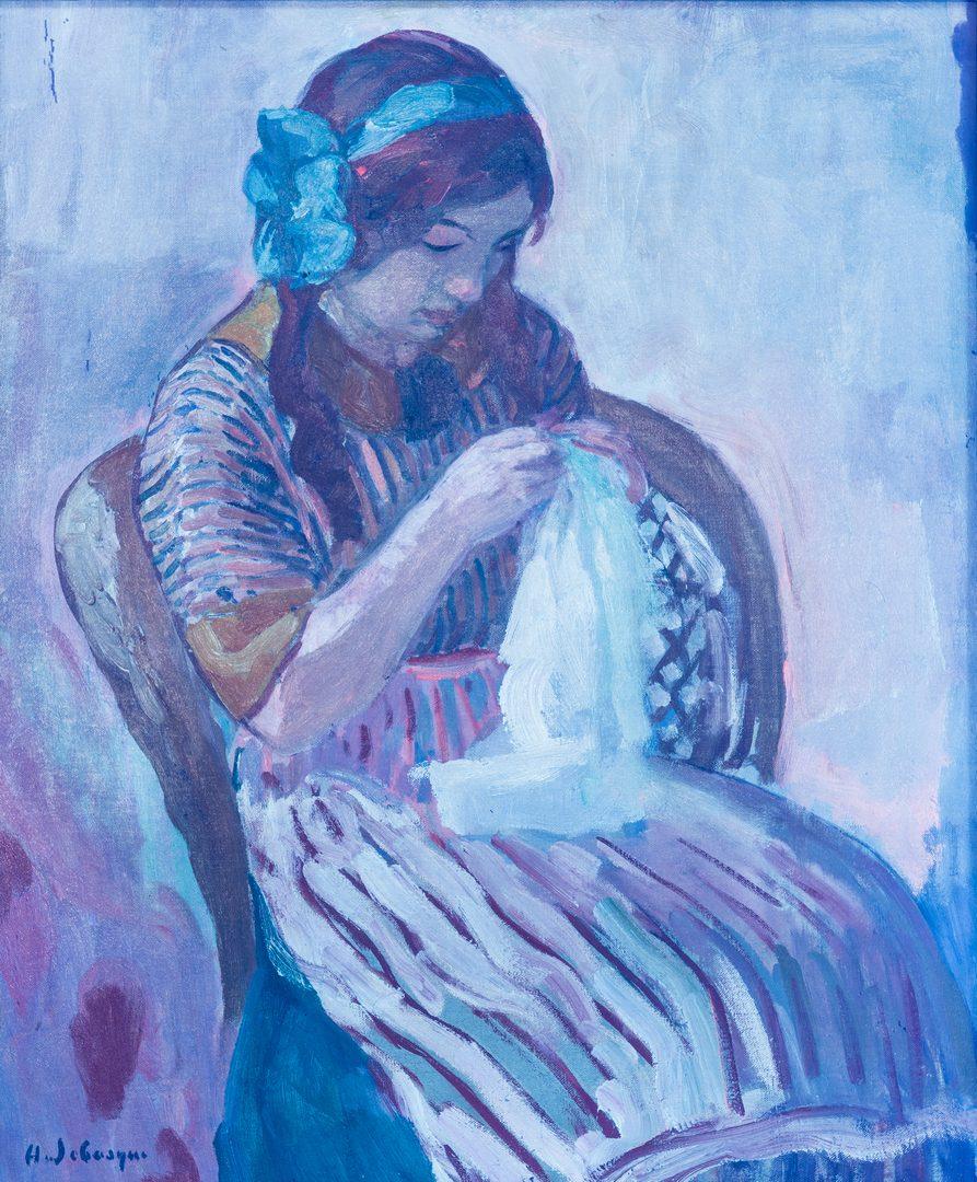 Lot 104: Henri Lebasque O/C, Girl Sewing