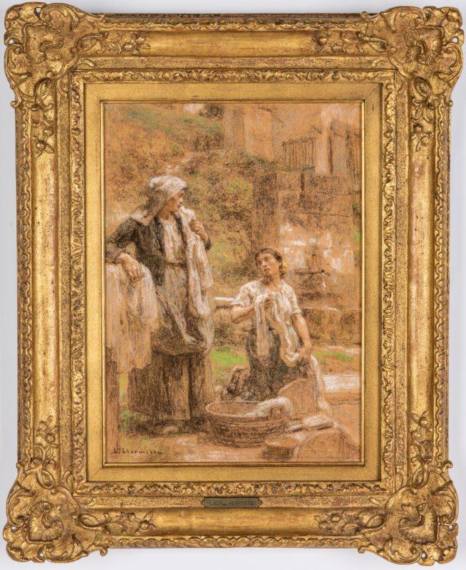 "Lot 108: Leon L'Hermitte Pastel, ""The Washer Women"""