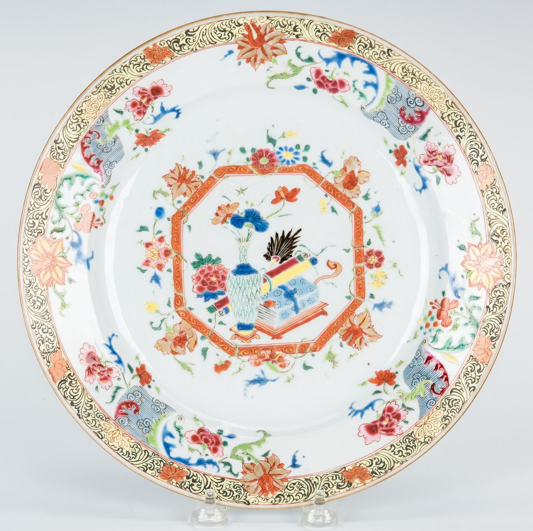 Lot 10: Chinese Qianlong Porcelain Charger & Jade Leaf Dish + more