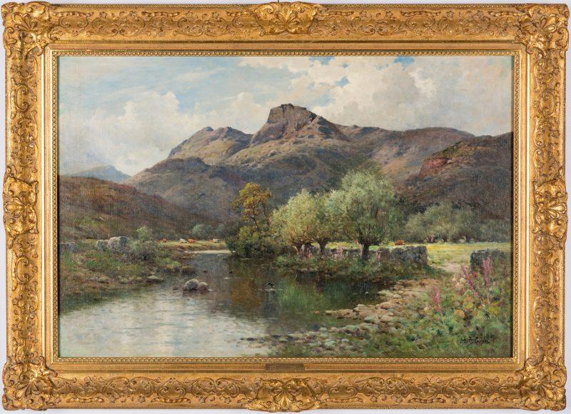Lot 110: English O/C Spring Landscape, A. De Breanski, Jr.