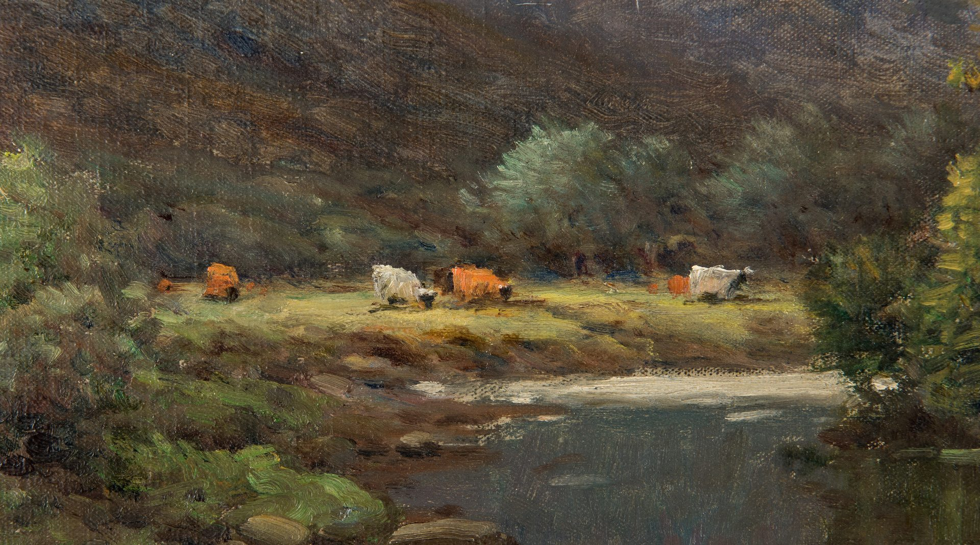 Lot 110: English O/C Spring Landscape, A. De Breanski, Jr.