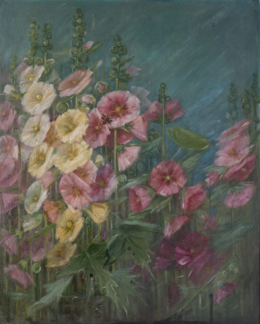 Lot 112: Adelia Armstrong Lutz O/B Hollyhocks
