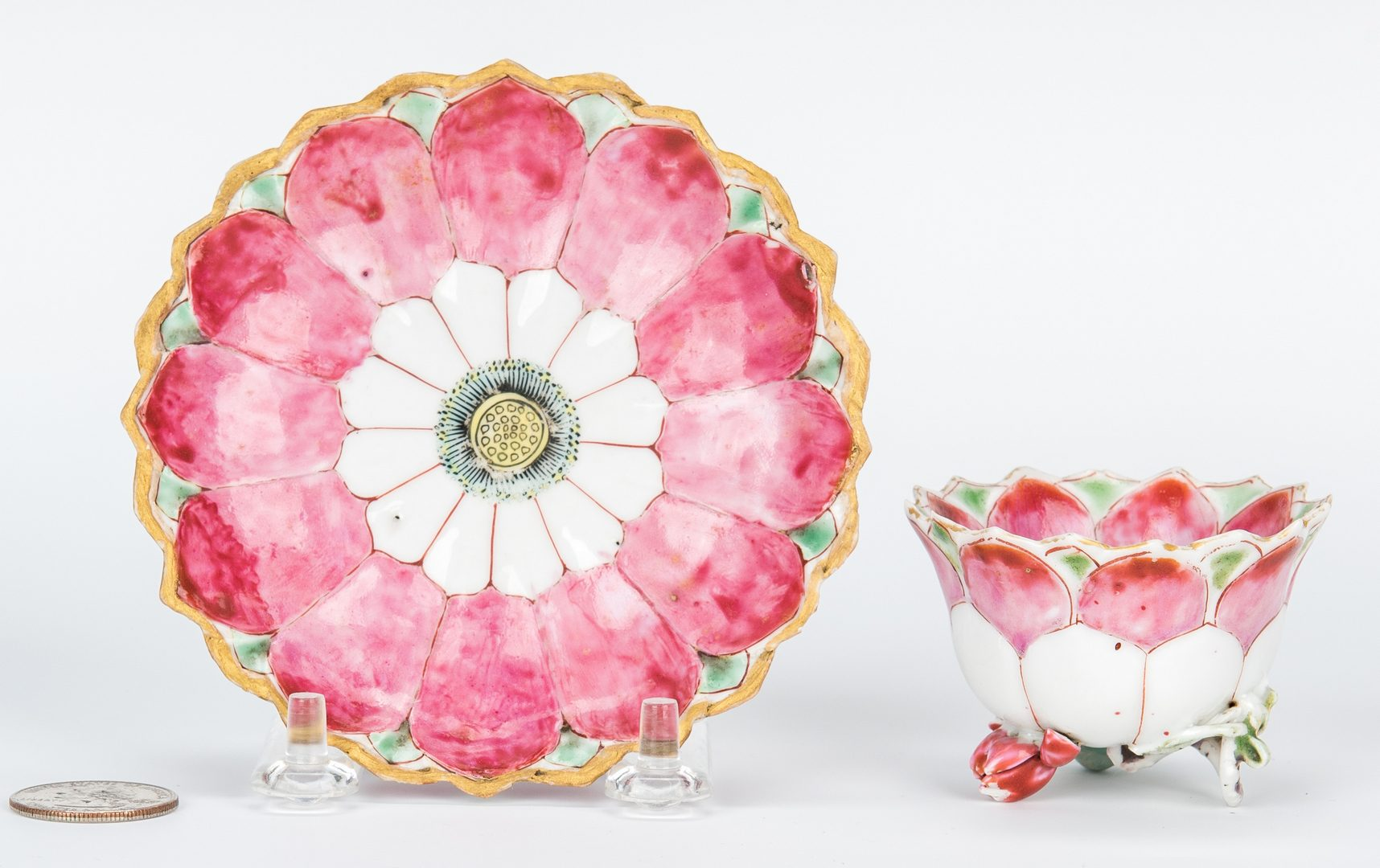 Lot 11: Chinese Famille Rose Export Lotus Cup,  Saucer & Tea Pot