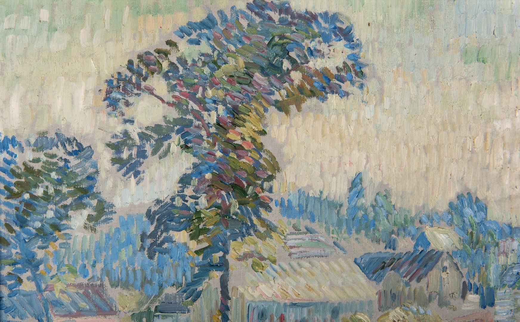 Lot 121: Edgar Hewitt Nye O/C, Impressionist Village Landscape