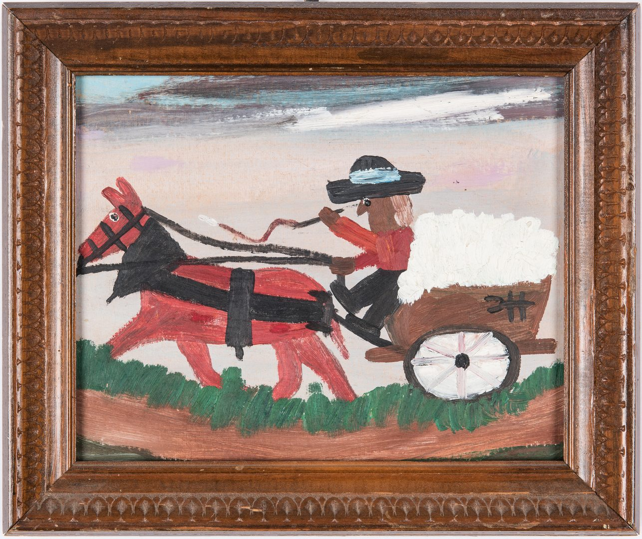 Lot 124: Clementine Hunter O/B, Cotton Wagon