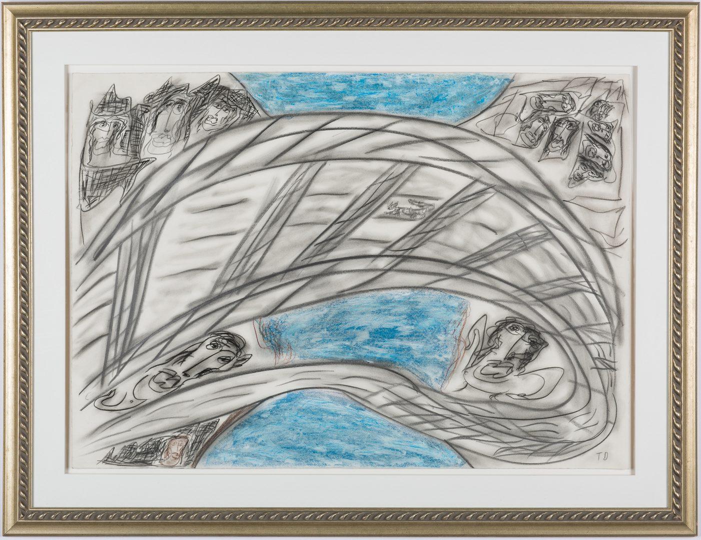 Lot 125: Thornton Dial Folk Art Watercolor, Toll Bridge