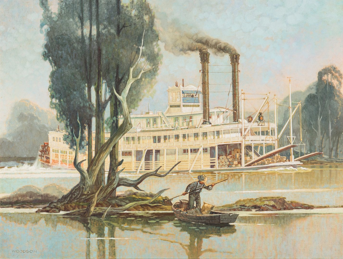 Lot 128: Jack Woodson Steamboat Oil Painting