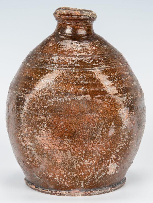 Lot 138: SW Virginia Earthenware Bottle, Sine Wave