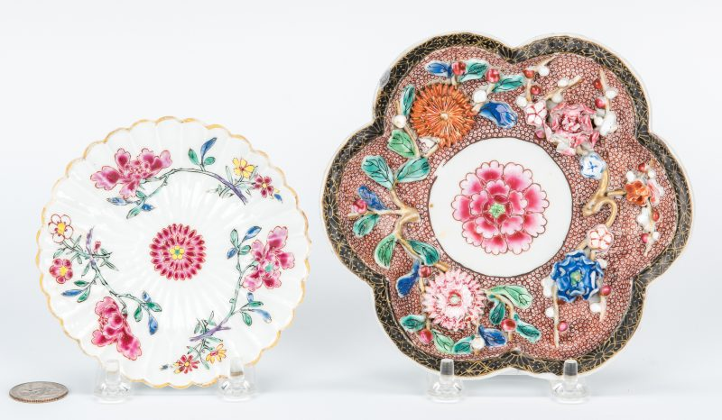 Lot 13: 2 Yongzheng Famille Rose Saucers, Relief Decoration