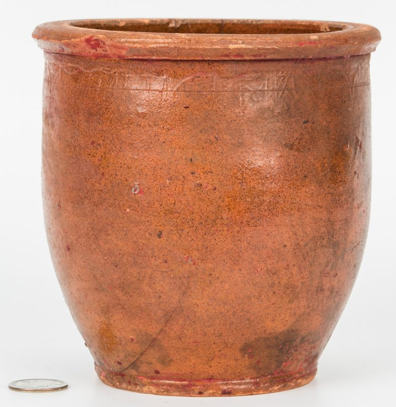 Lot 142: C A Haun Redware Pottery Jar, Greene County, TN