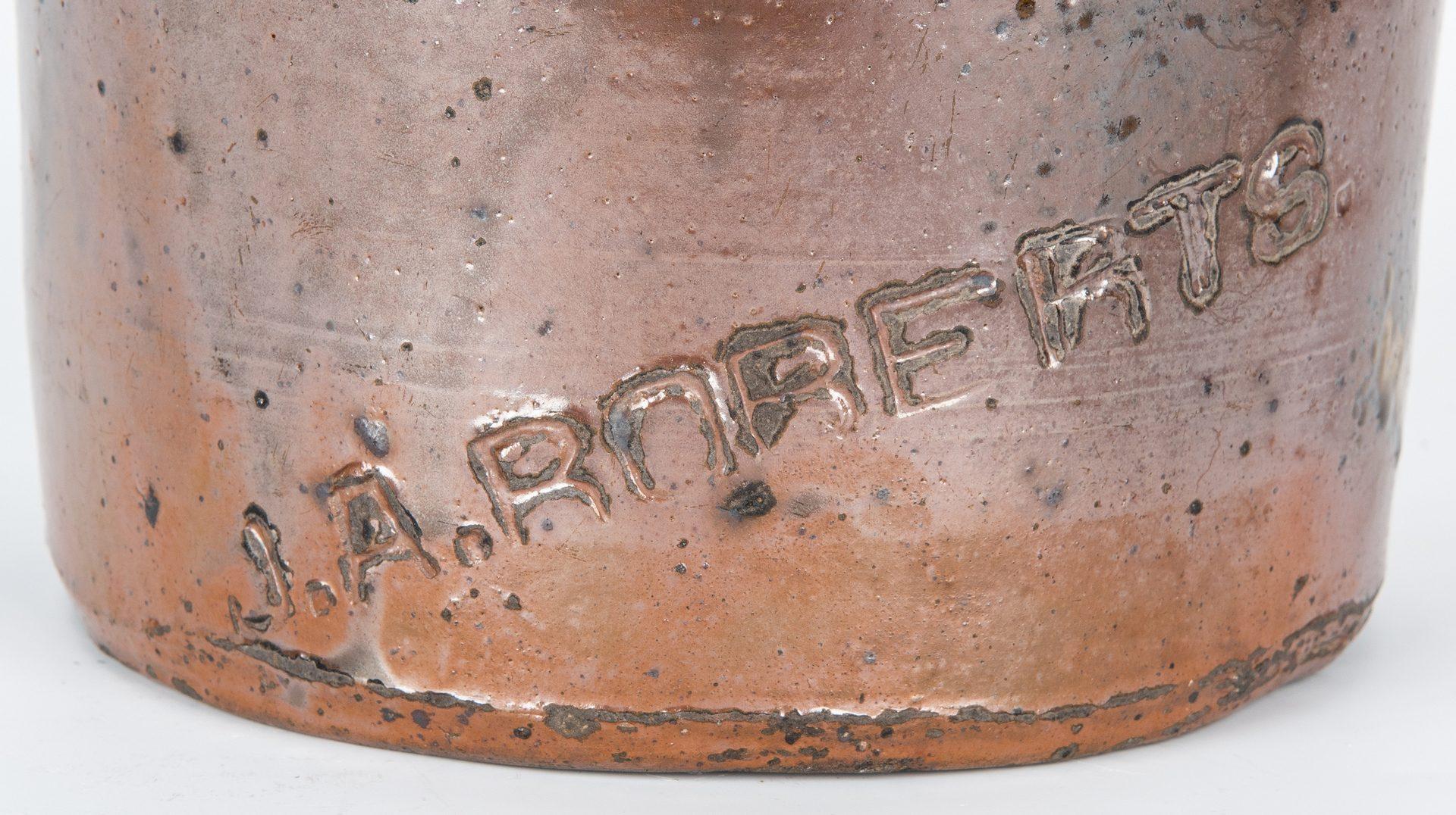 Lot 151: Middle TN Stoneware Jar, J. A. Roberts