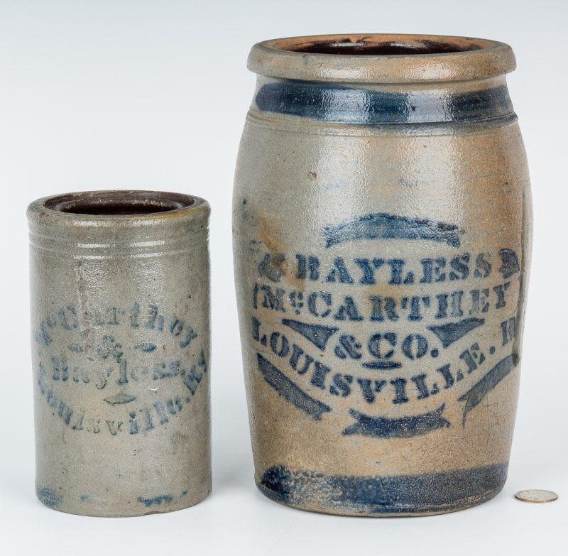 Lot 152: 2 Louisville Kentucky Stoneware Pottery Jars
