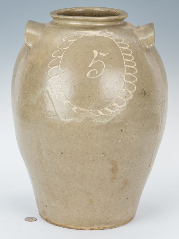 Lot 160: SC Edgefield Pottery Jug w/ Slip Flower Design