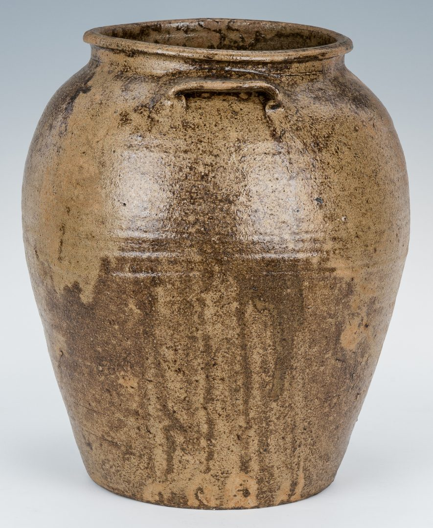 Lot 162: Possible SC Edgefield District Slave Made Pottery Stoneware Jar