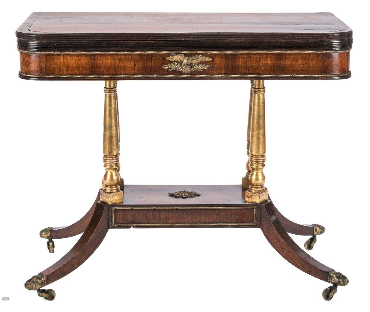 Lot 166: Regency Parcel Gilt Card Table with Eagle