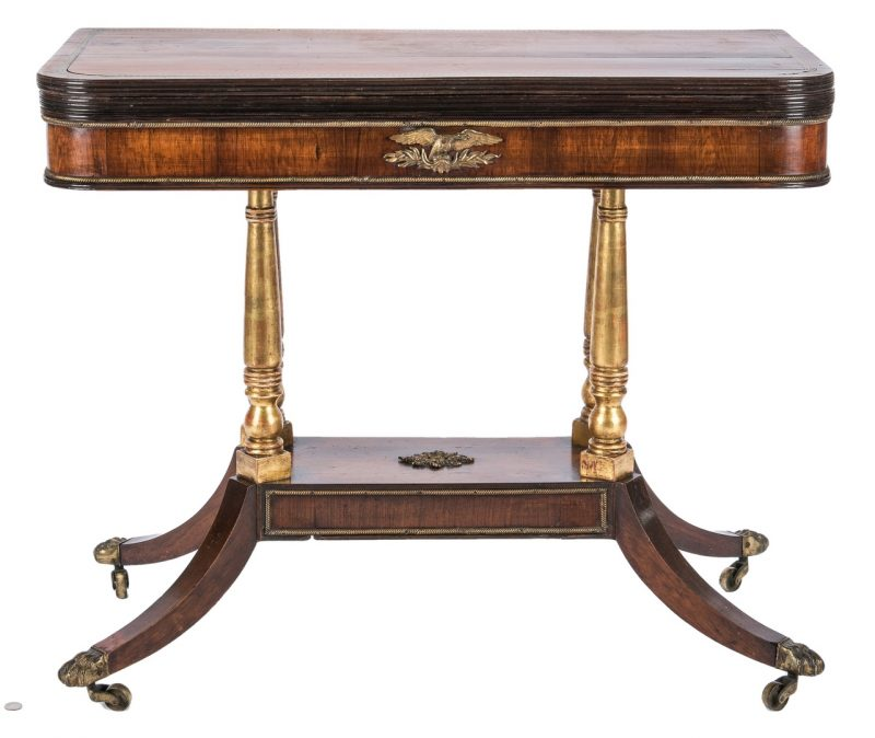 Lot 166: Regency Parcel Gilt Card Table with Eagle