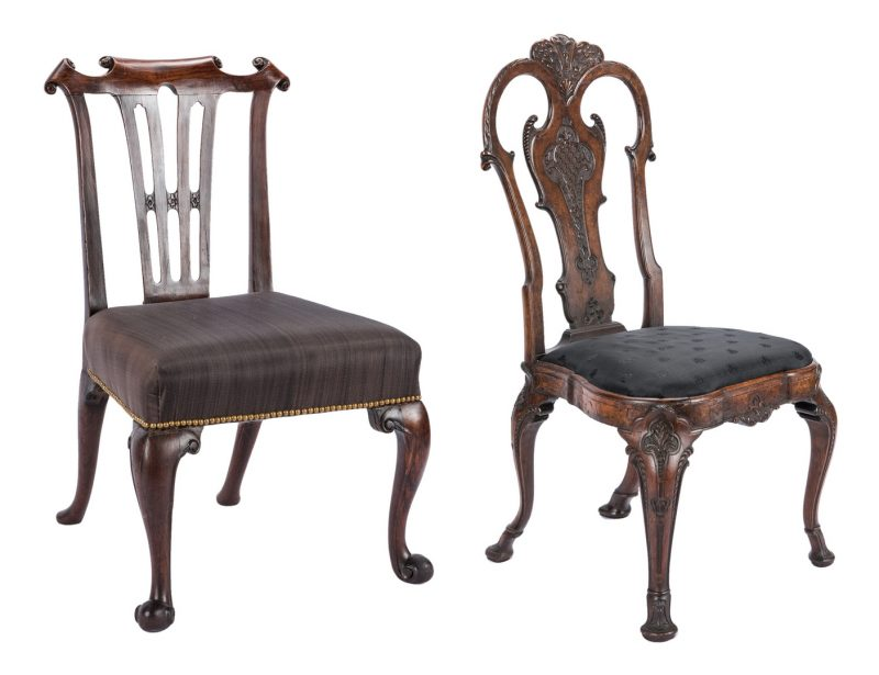 Lot 168: 2 Carved Period Side Chairs, Chippendale & Queen Anne