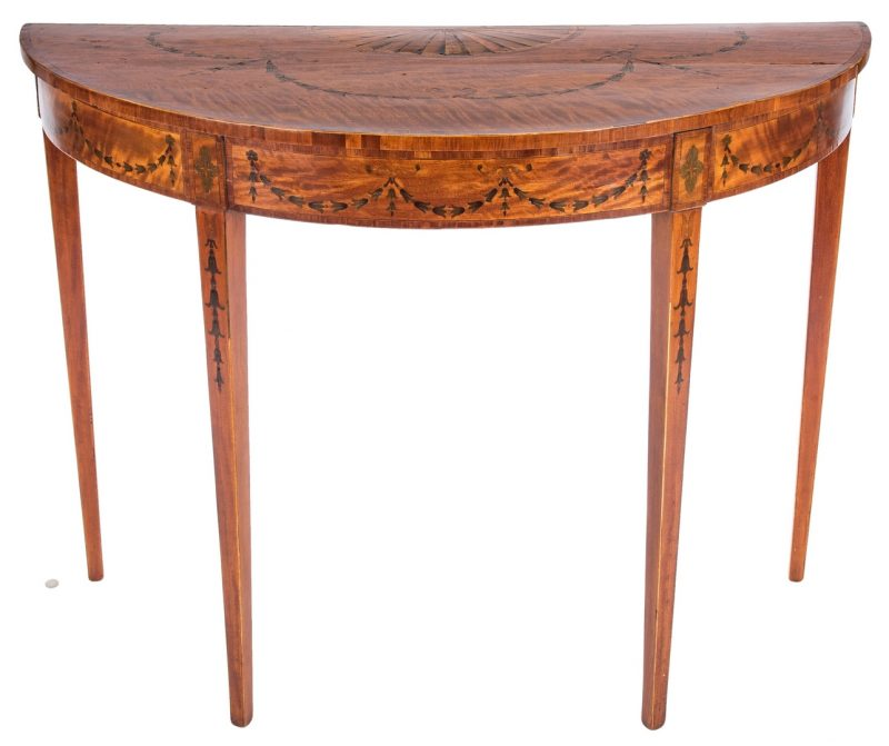 Lot 169: George III Inlaid Demilune Table
