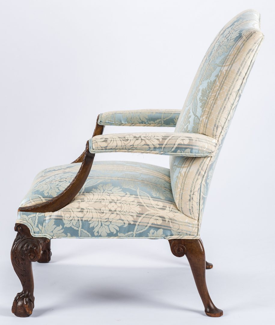 Lot 171: English Library Chair w/ Carved Feet