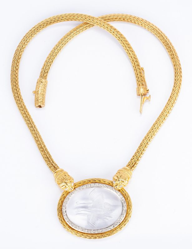 Lot 174: 18K Lalaounis Intaglio Pendant Necklace