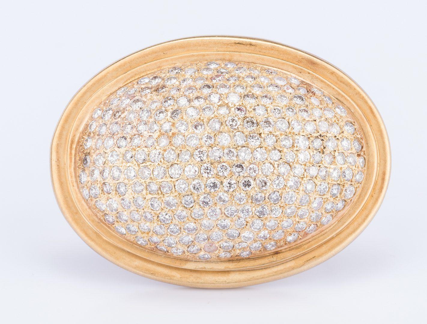 Lot 177: 18k Oval Pave' Diamond Pin/Pendant, 4.65ct