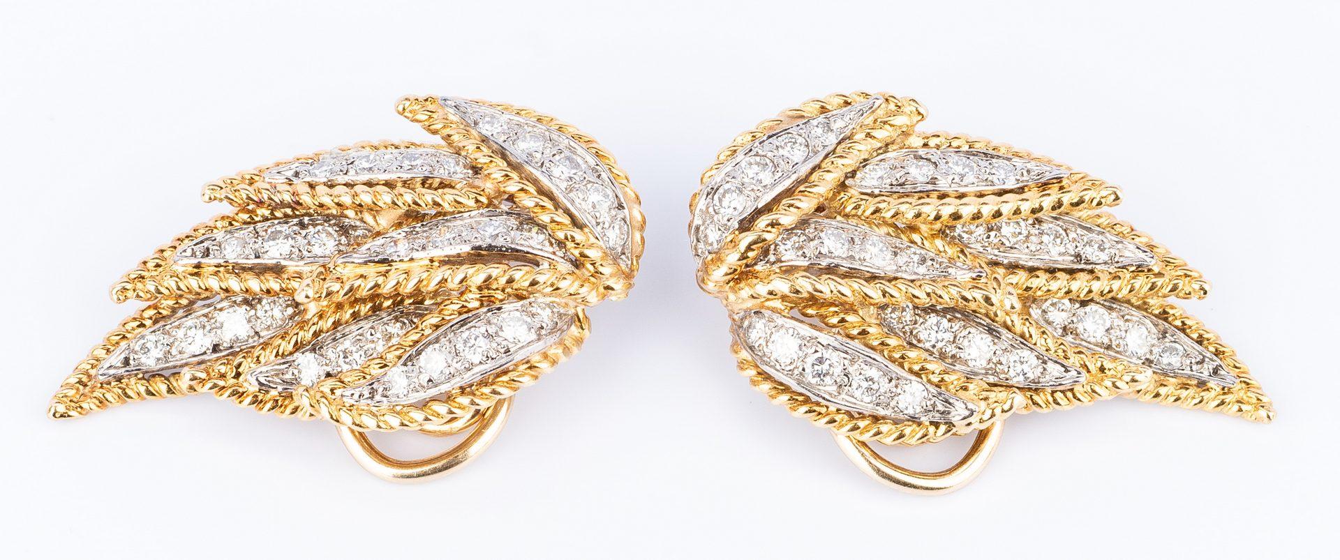 Lot 179: 18K Diamond Petal Earrings in 2 parts