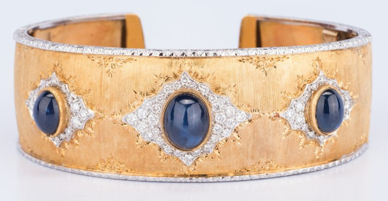 Lot 183: Italian 18k Sapphire Diamond Cuff, 55.7 grams