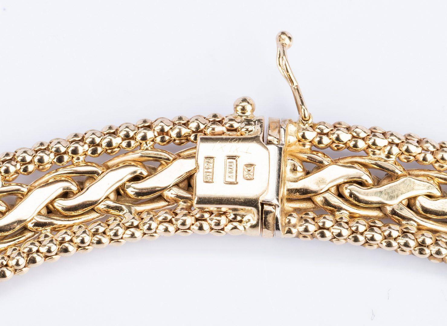 Lot 185: Italian 14K Necklace; Bracelet Set, 70.3 gr.
