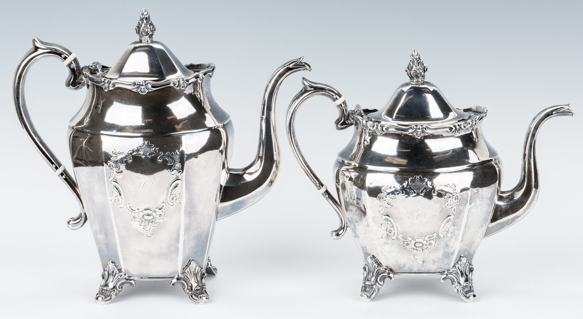 Lot 186: 4 Pc. Coin Silver Tea Service, TN Retailed