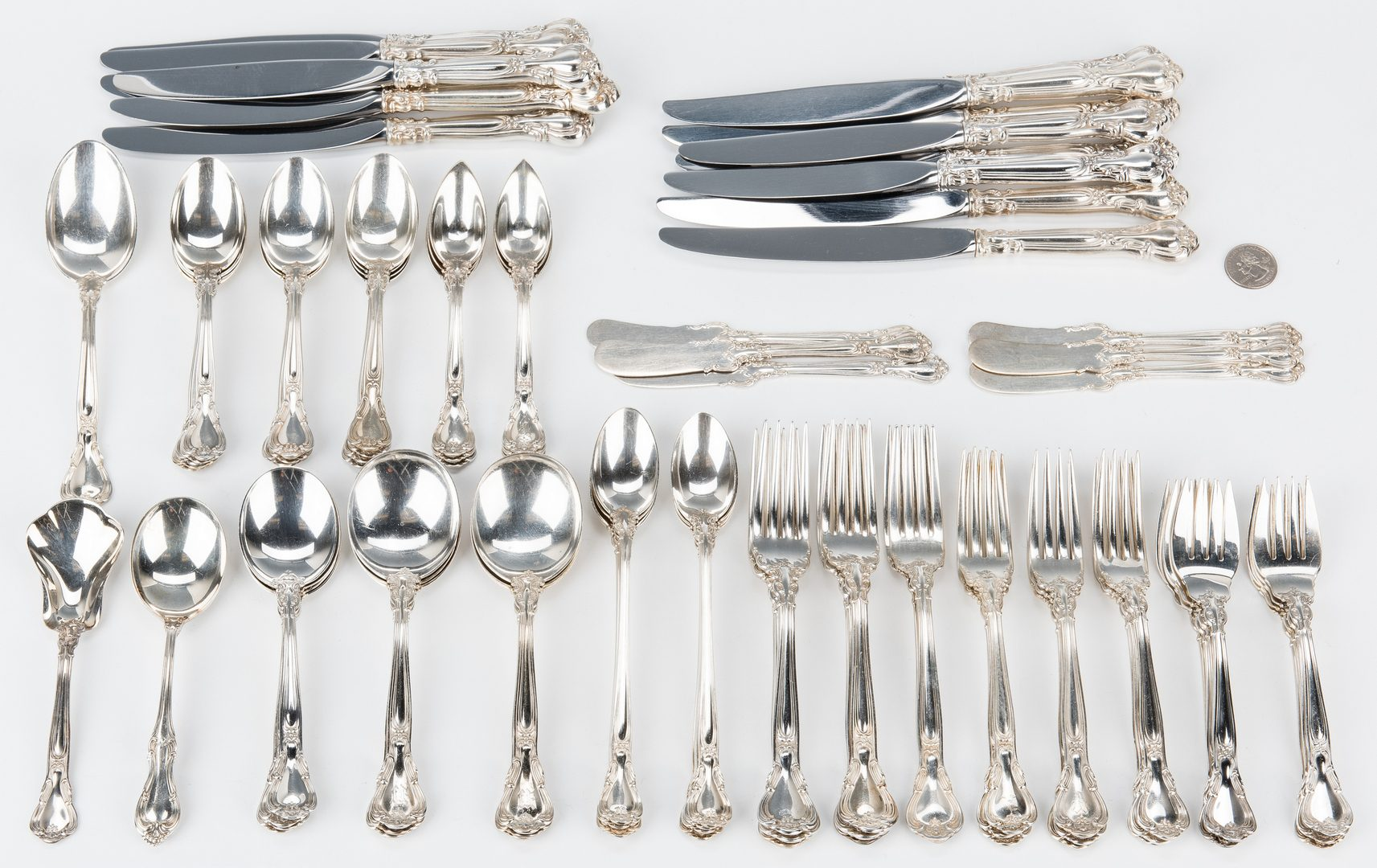 Lot 189: 88 pcs. Sterling Silver Flatware, incl. Gorham Chantilly