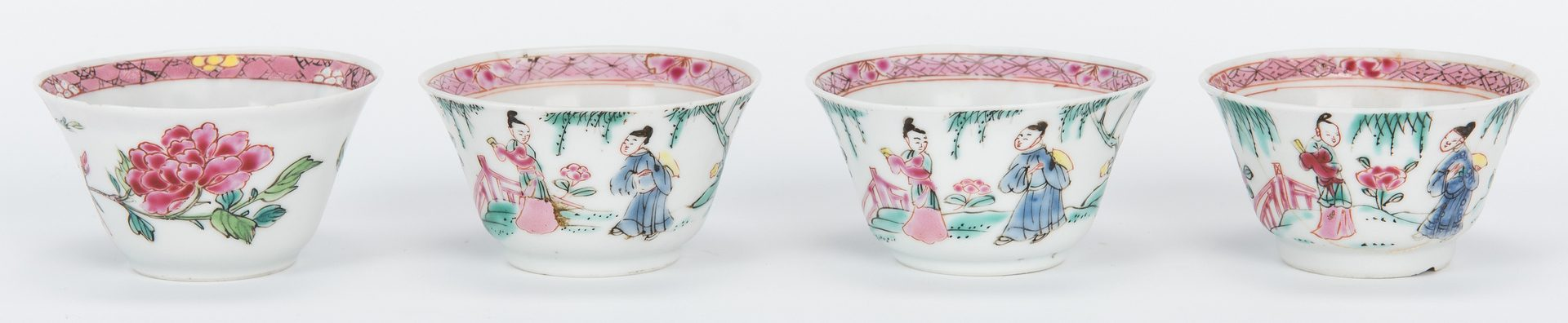Lot 18: 17 Famille Rose cups, saucers, pink borders