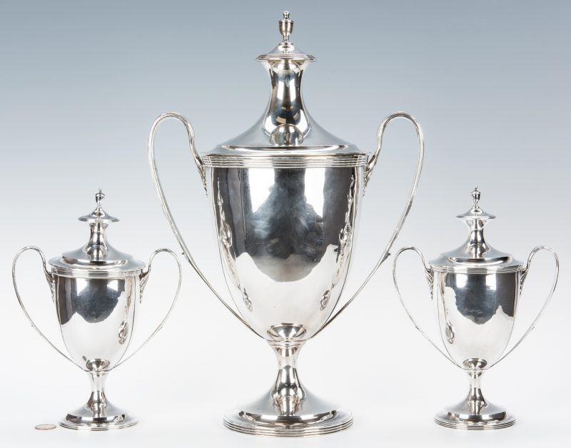 Lot 190: 3 Edwardian Sterling Urns, Crichton