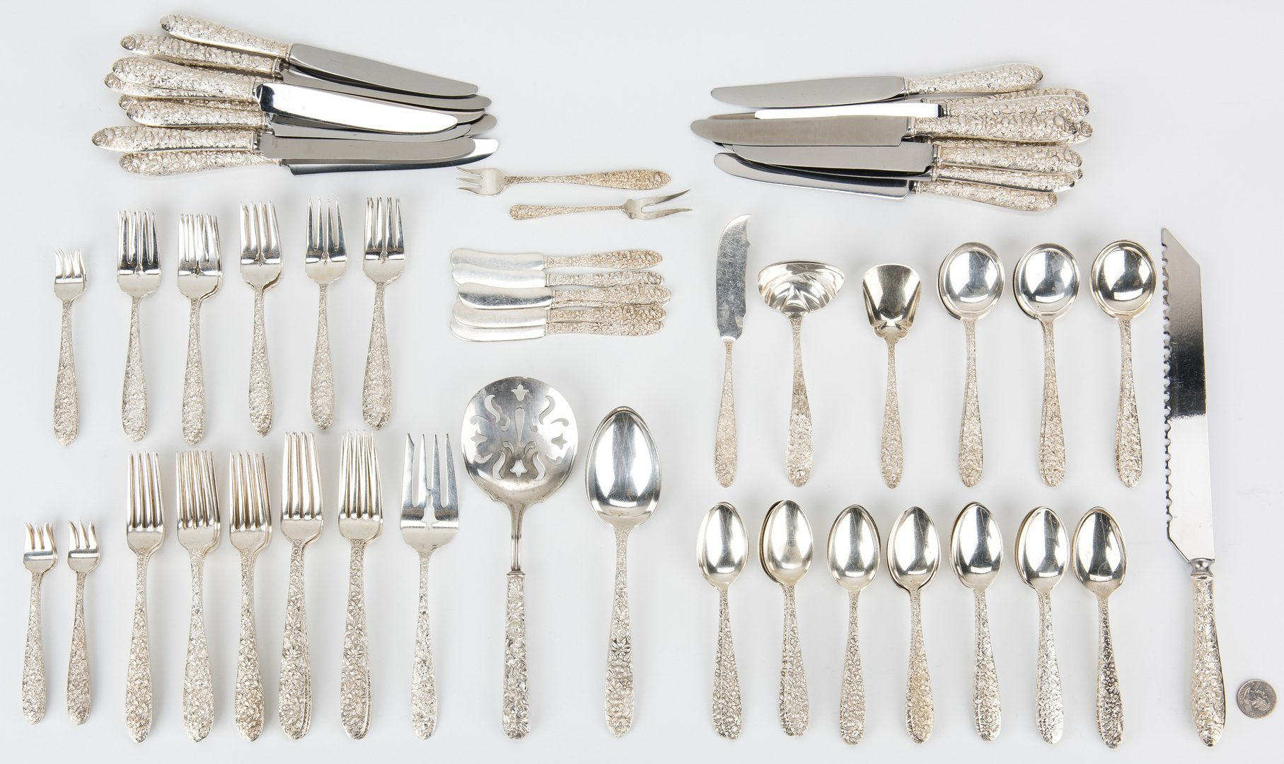 Lot 193: 121 pcs. Manchester Southern Rose Pattern Sterling Silver Flatware