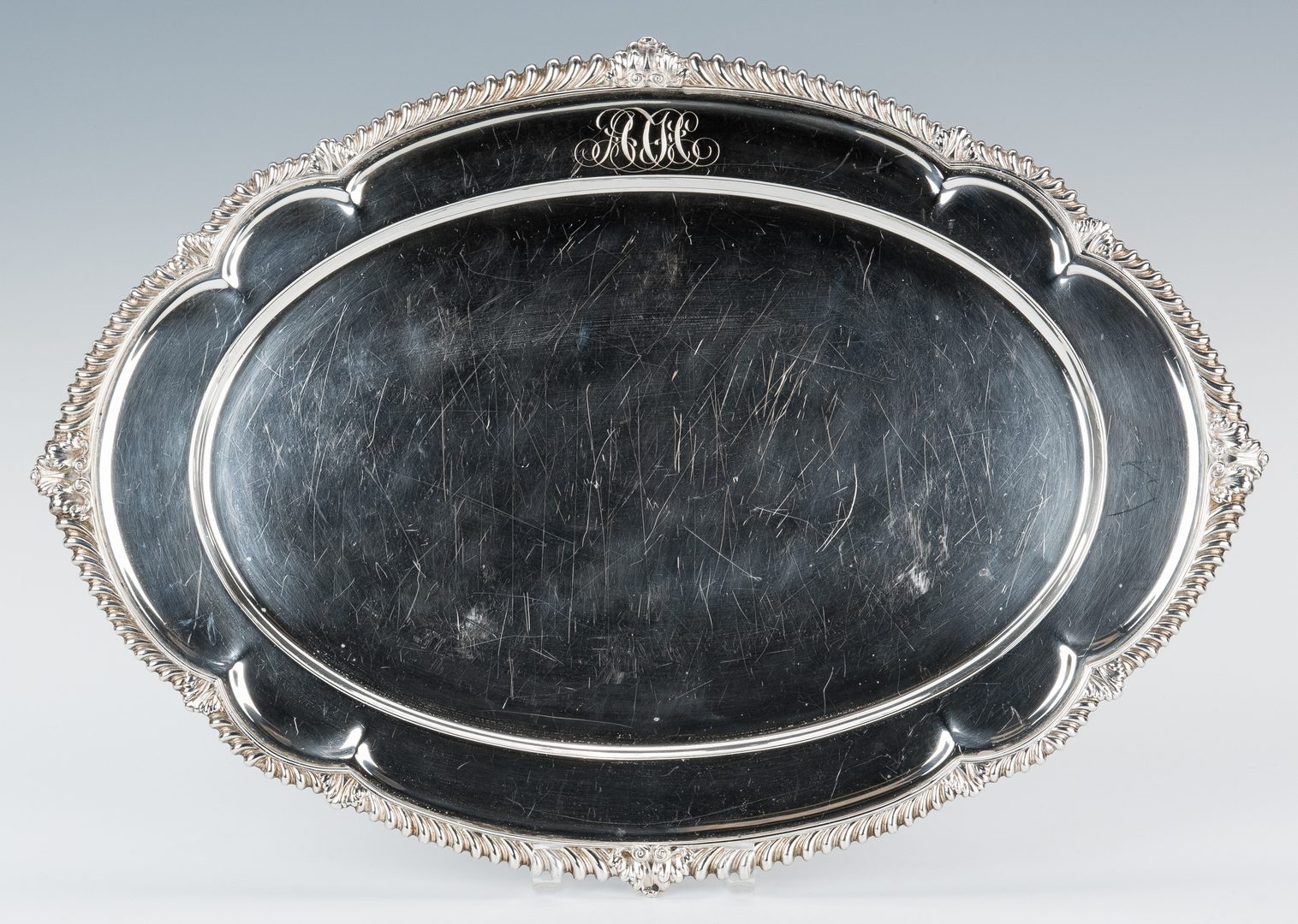 "Lot 194: Gorham 20"" Sterling Silver Oval Tray"