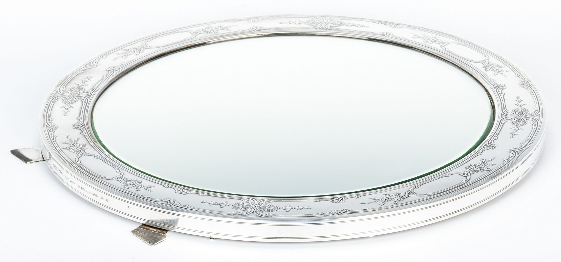 "Lot 195: Tiffany Sterling Silver Dressing Mirror, 17"" Diam."
