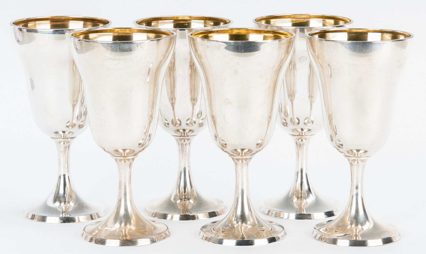 Lot 200: 6 Sterling Goblets & 1 Water Pitcher