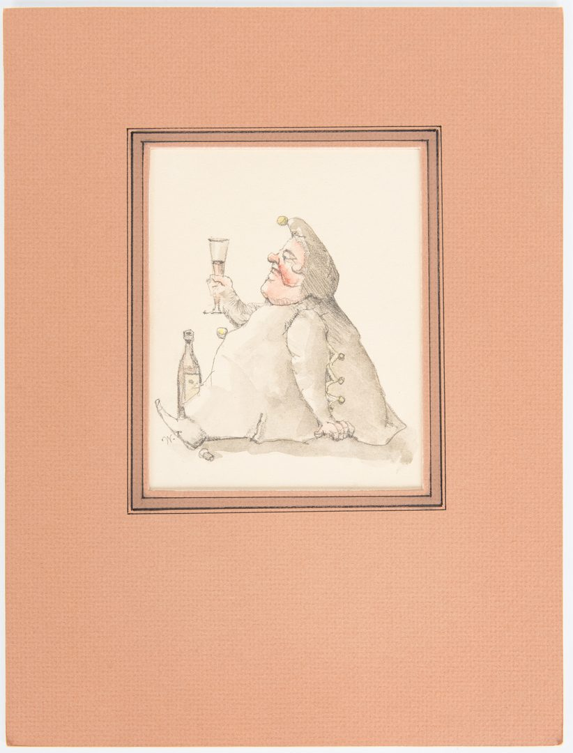 Lot 204: 2 Werner Wildner Watercolors, Gourmand and Gnome plus sketch verso
