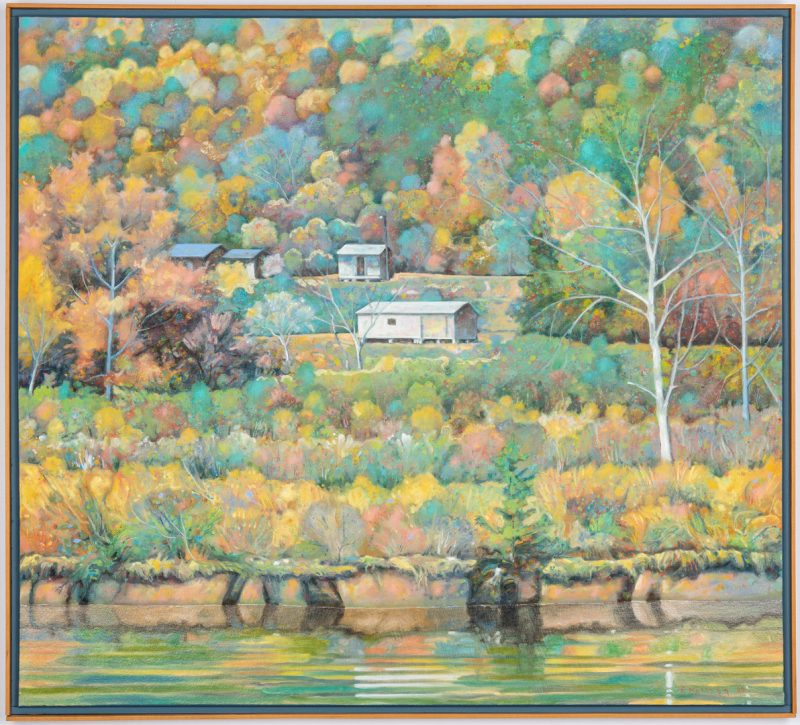 Lot 207: Edward Kellogg Oil Painting, River Houses