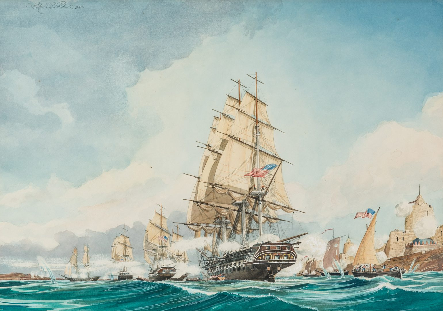Lot 212: Nowland Van Powell W/C US Navy Battle Scene