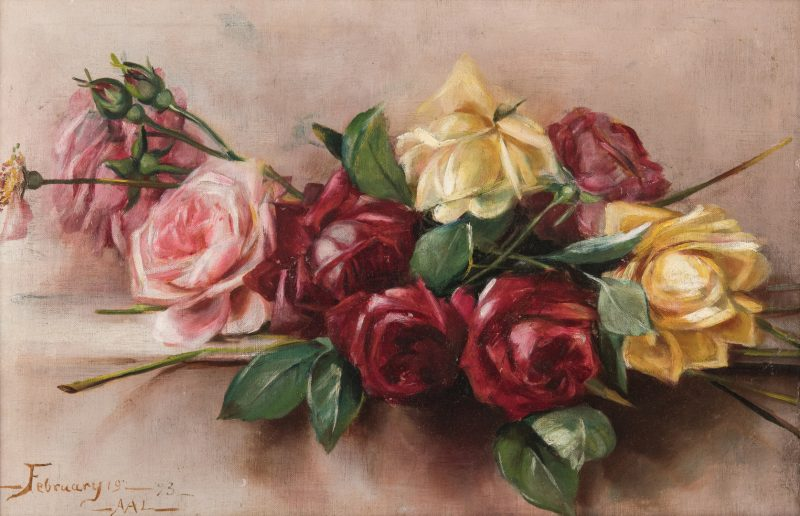 Lot 214: Adelia Armstrong Lutz O/B, Still Life with Roses