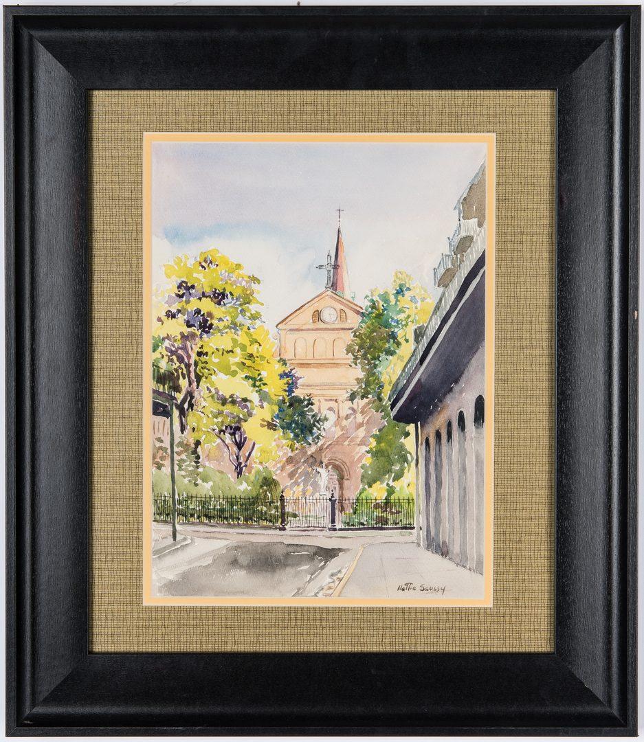 Lot 216: Hattie Saussy Watercolor, Street Scene with Clock