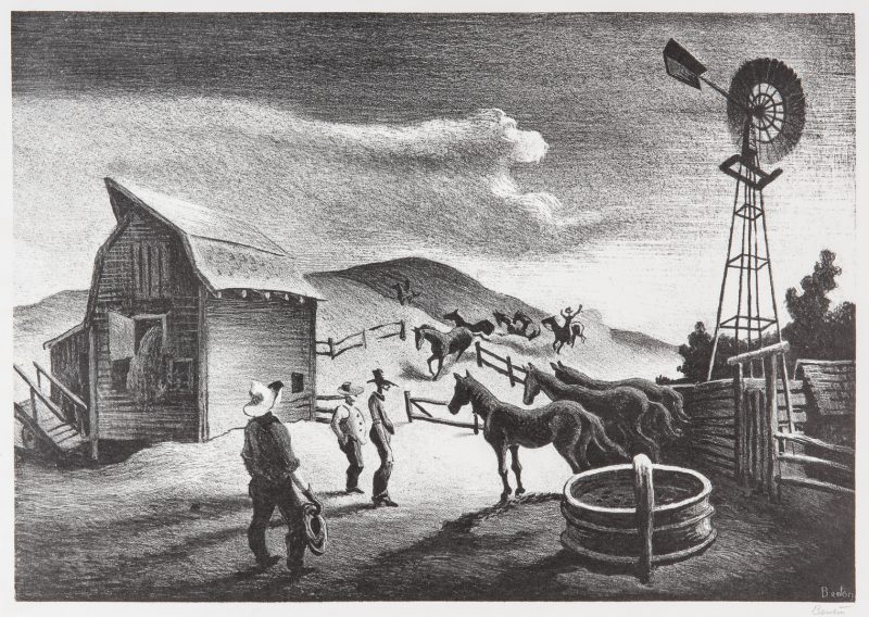 Lot 218: Thomas Hart Benton Lithograph, The Corral
