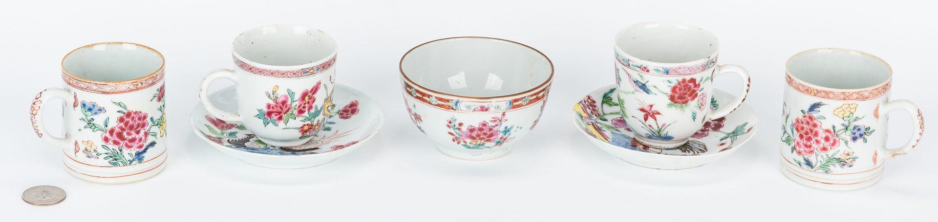 Lot 21: 7 Famille Rose Porcelain Tea Cups, Saucers