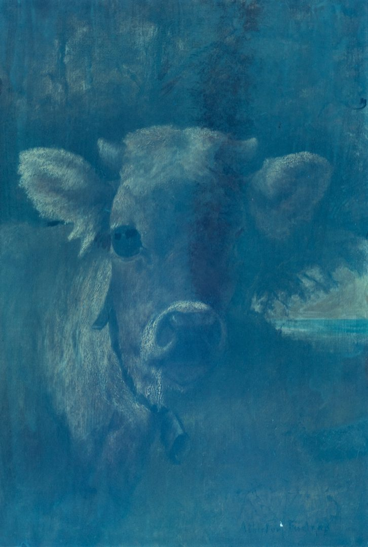 Lot 220: Atherton Furlong O/C Cow Portrait, Young Tom