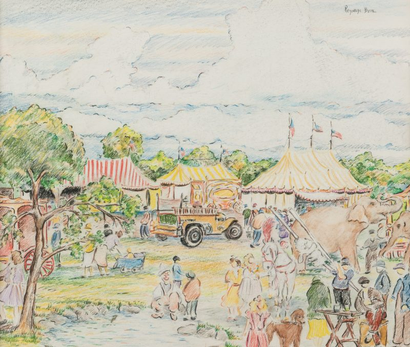 Lot 224: Reynolds Beal, Impressionist Circus Drawing